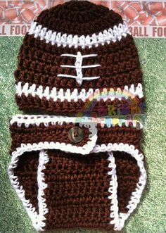 Baby Boy Football Crochet Hat And Diaper Cover