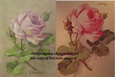 christie repasy's is on the left, catherine klein's is on the right.  christie repasy's image appears purplely and  cloudly possible because she photoshopped her painting to make it appear more appealing