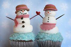 snow people cupcakes...so cute!