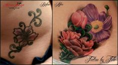 Cover up Tattoo before and after flowers