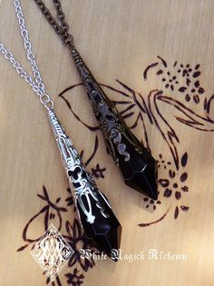 White Magick Alchemy - Witching Hour Silver Age ~ Crystal Magickal Black Prism Divination Pendulum Necklace