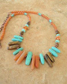 Boho Necklace Southwest Jewelry Bohemian Turquoise by BohoStyleMe