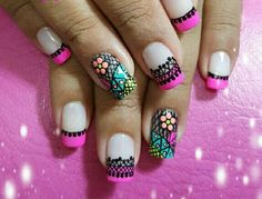 Uñas Love Nails, Pretty Nails, Fun Nails, Mani Pedi, Manicure And Pedicure, Henna Style, Nail Patterns, Cute Nail Art, Stamping Plates