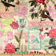 Designed by London Rose for Michael Miller, this cotton laminate is appropriate for raincoats, shower curtains, tablecloths, placemats and more! A soft protective film is laminated to the face of the fabric. Features butterflies, birds and florish designs of teal, pink, rose, dark greens and ivory.