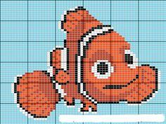 Nemo X-stitch pattern Pearler Bead Patterns, Perler Patterns, Loom Patterns, Beading Patterns, Cross Stitch Charts, Cross Stitch Patterns, Cross Stitching, Cross Stitch Embroidery, Lilo E Stitch