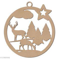 Forme en bois à suspendre - boule de Noël Biche et cerf - 7 cm