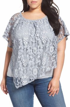 31937582fd99ef Democracy Plus Size Lace Overlay Top Layered Light Blue Jersey Blouse 1x |  eBay
