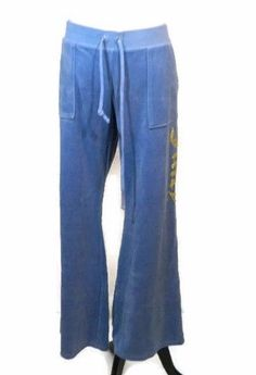 Juicy Couture Velour Pants XL Blue Pockets Flare Gold Glitter Sweat Track New  #JuicyCouture #TrackSweatPants