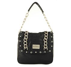4/6/2012  Price: $29.99  + FREE SHIPPING Buffalo by David Bitton Chain Link Series Angela Flap Design Handbag in Black