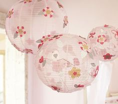 DIY pottery barn knockoffs - $1 tree white hanging lanterns & cute scrapbook paper