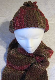 Knitted Scarf and Crochet Hat Set in Multi Color in by Kitkateden, $22.00