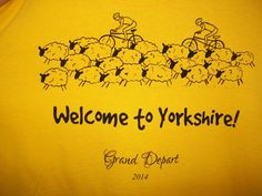 Quirky fun tour of yorkshire grand depart t shirt by SugarHen, $18.00 cycling bike keepsake race top sheep cyclists xx