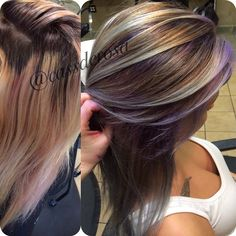 Purple And Blue Ombre On Brown Hair My Work Hair
