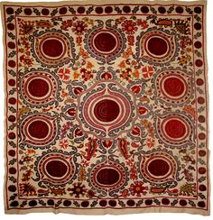 38. Sold Item and off to a San Francisco collector ...  so gorgeous, 94x99 inches, Djizak from Uzbekistan! A classic pattern.