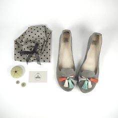 The Loafers Shoes in Gray Suede and Colored Tassels by elehandmade, $168.00