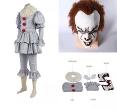 Adult Scary Clown Halloween Mask Boots Accessories Complete Costume S M L XXL #itcostume