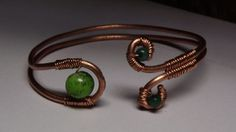 Wire Wrapped Copper Cuff with Green Beads by byJGL on Etsy, $18.00