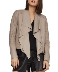 Bcbgmaxazria Drape-Front Leather Jacket - Tan/Beige S Leather Jackets Online, Waterfall Jacket, Crew Shop, Plus Size Activewear, Jeans Dress, Baby Clothes Shops, Trendy Plus Size, Taupe, Jackets For Women