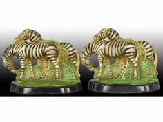Hubley Cast Iron Zebra Bookends