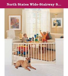 """North States Wide-Stairway Swing Gate 46"""" - 63"""" x 30"""" (Set of 3). Perfectly functional, durable and easy to use, this gate is ideal to keep pets in or out! In addition to its functionality, this gate is aesthetically pleasing and will fit into any room's decor. Perfect for securing stairs and other locations. Deluxe wood gate adjusts easily to doorways and stairways 46""""-63"""" wide - over 5 feet! Gate is 30"""" high. Swings in, out or both ways with swing control hinge. Childproof latch with…"""