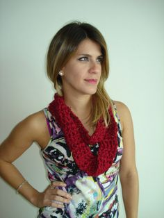 Small Handmade Cherry RedCrochet Cowl by Belisse on Etsy