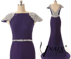 Elegant Custom Made Sexy V Back Boat Neck Mermaid Royal Blue Crystal Belt and Cap Sleeve Prom dress Evening Dress Wdding Party Dress