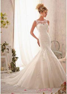 Elegant Tulle Bateau Neckline Natural Waistline Mermaid Wedding Dress