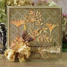 Hello everyone! I'm back today with the remainder of my cards created for the Tim Holtz Sizzix Chapter 1 release. Flowers In Jars, Wild Flowers, Cut Flowers, Big Shot, Tim Holtz Dies, Sizzix Dies, Karten Diy, Fall Cards, Greeting Cards Handmade