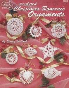 Christmas Romance Ornaments, Holiday Decor Crochet Pattern Booklet American School of Needlework 1088