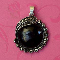 Free Shipping Natural Black Onyx 925 Sterling Silver Gemstone Pendant #Handmade #Charm