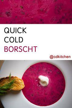 Made with fresh dill, sour cream, beets, chicken stock, onion, lemon, salt, sugar | CDKitchen.com