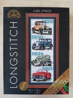 Large boxed kit with wool of vintage cars by DMC - can be completed as long stitch or tapestry - rare vintage by KindredClassics on Etsy Photo Canvas, Tapestry Wall Hanging, Needlepoint, Vintage Cars, Kit, Wool, Stitch, Canning, Punto Croce