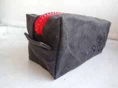 Grey Boxy Bag OOAK Waxed Canvas Simple by koatye1 on Etsy