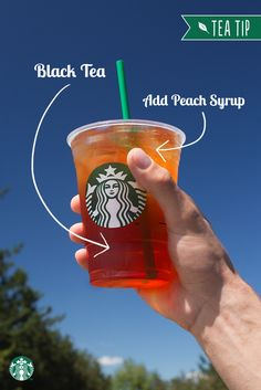 Sweet peach makes a perfect compliment to a glass of bold, iced black tea. Ask your Starbucks barista to add peach flavor to your Teavana Shaken Iced Black Tea at Tri County Mall! Starbucks Tea, Starbucks Hacks, Starbucks Secret Menu Drinks, Healthy Starbucks, Refreshing Drinks, Summer Drinks, Fun Drinks, Alcoholic Drinks, Beverages