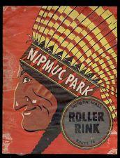 WWII 1940's era MENDON MASS MA  NIPMUC PARK ROLLER SKATING RINK SKATE LABEL L22