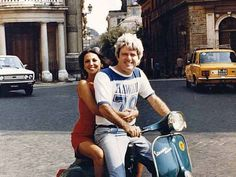 "When In Rome This is one of my favorite photos -- from a trip Phil and I took to Rome the year before we got married. It was a wonderful, romantic, and funny vacation. On this particular day we took a spin through Rome the way the Romans do -- on a motorbike -- and got hopelessly lost. I ended up hopping a cab back to the hotel, and telling the driver, ""Don't lose the guy on the Vespa!"""