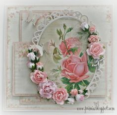 A handmade shabby card with a lot of roses