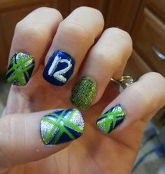 My nails for the 12-29-13 Seahawk game!! GO HAWKS!!! Win