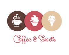 Coffee and sweets Logo design - This logo is ideal for donut shop or store, snack shack, bakery, cake shop, cupcake shop, food blog, confectionery ,dessert, catering service, patisserie shop or factory, dessert recipe site, pastry shop ,Cafe