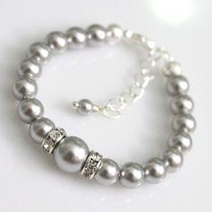 CUSTOM COLOR Flower Girl Bracelet Swarovski Light Grey Pearl Bracelet, Gray Pearl Bracelet, Flower Girl Gift, Junior Bridesmaid Gift