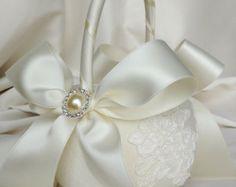 Wedding Flower Girl Basket with Alencon Lace Ivory by JLWeddings