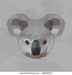 Koala colored head geometric lines silhouette isolated on grey background vintage vector design element illustration