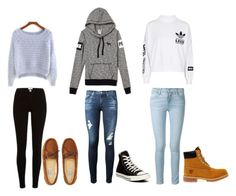 """""""cute outfits"""" by karynronzaa ❤ liked on Polyvore featuring Aéropostale, adidas, AG Adriano Goldschmied, Frame Denim, Converse and Timberland"""