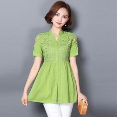 Womens Lace Blouse Shirt Sexy Casual Linen Top