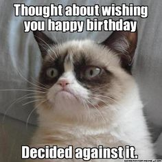 Deep down I'm sure grumpy cat wishes you… No. He doesn't. I do, though. Happy birthday love. -m xx