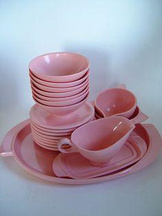 Vintage Bubble Gum Pink Boontonware Melmac 20 Piece Set Platter Bowls Serving 1950s Mid Century Modern Dinnerware Housewares. $65.00, via Etsy.