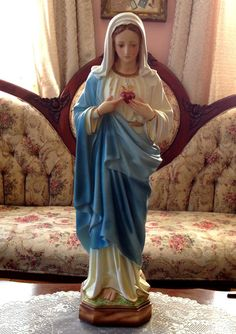 """LARGE Virgin Mary PLASTER Statue Sacred Immaculate Flaming Heart Blessed Mother traditional Vintage Catholic Faith Milagros Altar Shrine 24"""""""