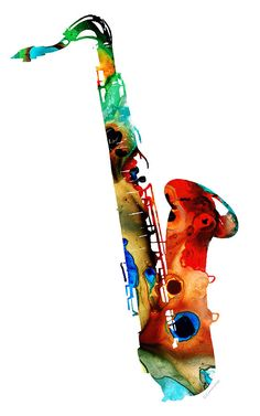 Saxophone Painting - Colorful Saxophone by Sharon Cummings by Sharon Cummings Abstract Wall Art, Abstract Landscape, University Of Tampa, Original Artwork, Original Paintings, Buy Art Online, Saxophone, Art Photography, Art Gallery