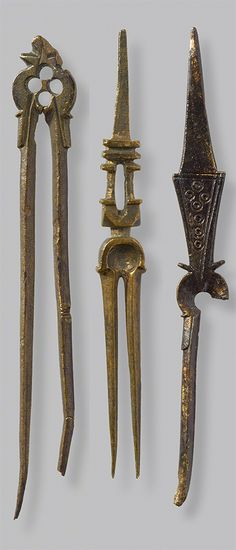 Bifurcated probes/forks, 1000s–1100s, made in Greece. Copper alloy, 4 3/4 in. (image at left) and 3 1/2 in. long (images at center and right). Images courtesy of the Archaeological Museum of Ancient Corinth - See more at: http://blogs.getty.edu/iris/what-did-byzantine-food-taste-like/#sthash.zUze9WRc.dpuf