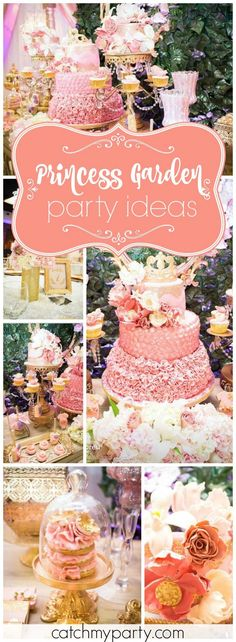 How pretty is this pink and gold princess garden baby shower! See more party ideas at Catchmyparty.com!